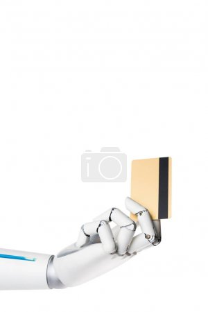 cropped image of robot holding credit card in hand isolated on white