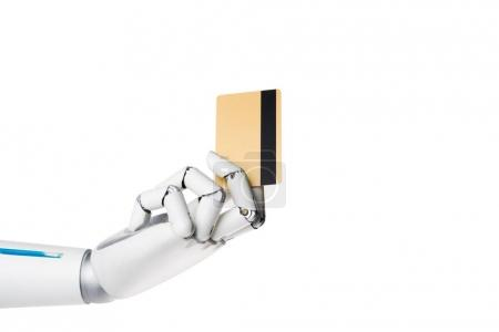 robot hand holding credit card isolated on white