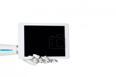 robot hand holding tablet with blank screen isolated on white