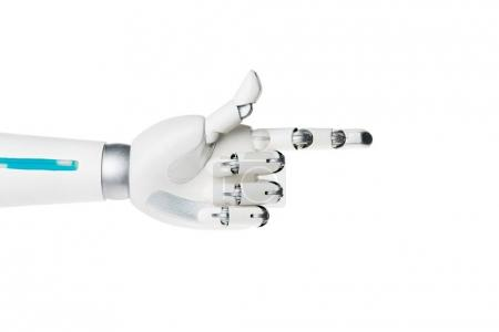 robot hand pointing on something isolated on white