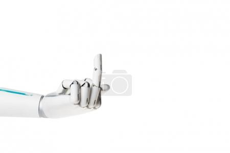 robot hand showing middle finger isolated on white