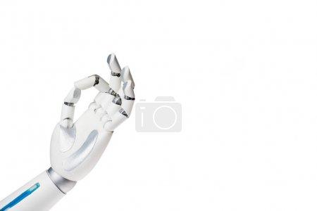 Photo pour Main de robot montrant OK geste isolé sur blanc - image libre de droit
