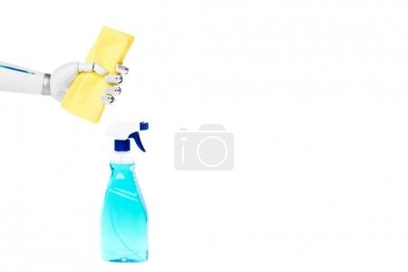 robot hand holding rag above spray bottle for cleaning isolated on white