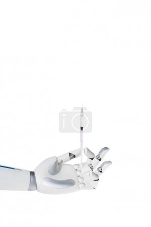 robot hand holding syringe for injection isolated on white