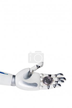 robot hand holding grey bitcoin isolated on white