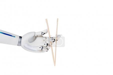 Photo pour Main de robot sur baguettes isolés sur blanc - image libre de droit