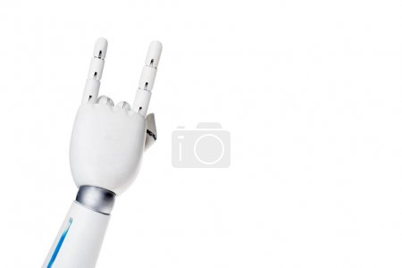 cropped shot of robot showing rock gesture isolated on white