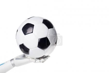 cropped shot of robot holding soccer ball isolated on white