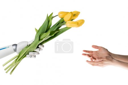 cropped shot of robot presenting bouquet for woman isolated on white
