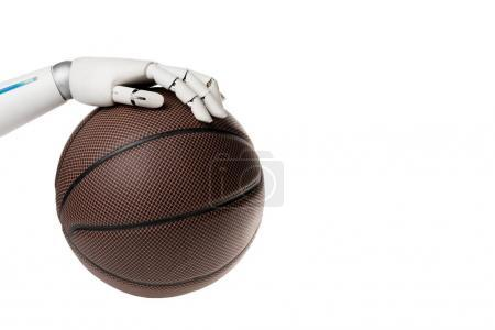 cropped shot of robot with basketball ball isolated on white