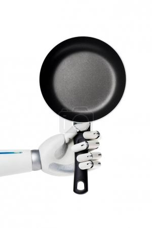 cropped shot of robot holding frying pan isolated on white
