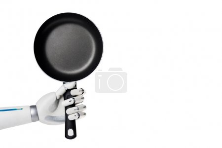 cropped shot of robot holding empty frying pan isolated on white