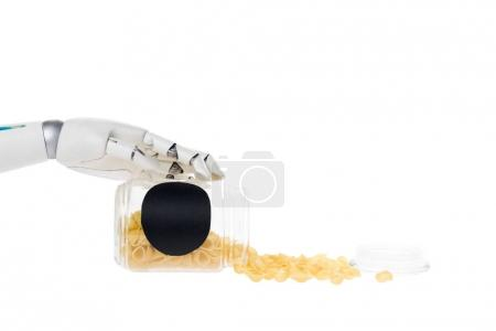 cropped shot of robot with macaroni spilled from jar isolated on white