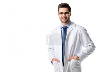 Smiling doctor wearing white coat isolated on white