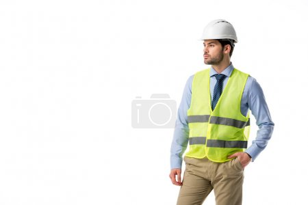 Confident architect in reflective vest isolated on white
