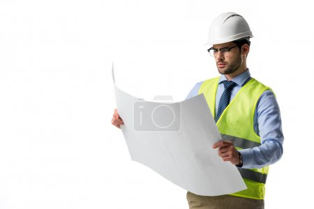 Photo for Bearded man in reflective vest and helmet looking at blueprint isolated on white - Royalty Free Image