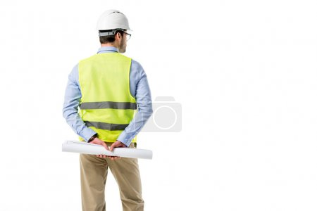 Rear view of architect in reflective vest holding blueprint isolated on white
