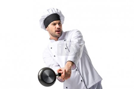 portrait of young chef with frying pan isolated on white