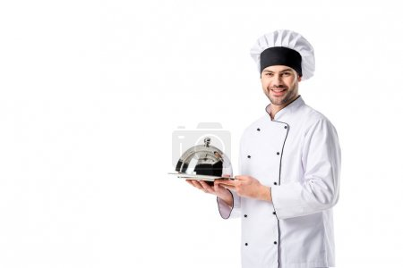 portrait of young chef with serving tray isolated on white