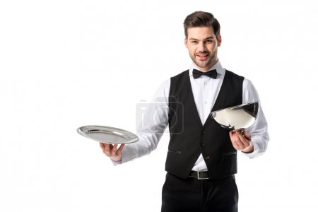 Photo for Portrait of handsome bearded waiter in suit vest with empty serving tray isolated on white - Royalty Free Image