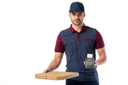 Photo for Delivery man with cardboard pizza box and cardkey reader in hands isolated on white - Royalty Free Image