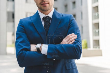 Photo for Cropped shot of businessman in stylish suit with crossed arms - Royalty Free Image