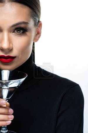 Photo for Cropped view of beautiful elegant woman with red lips holding martini glass isolated on white - Royalty Free Image