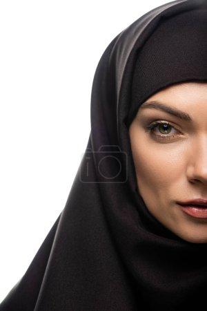 Photo pour Cropped view of beautiful young Muslim woman in hijab isolated on white - image libre de droit