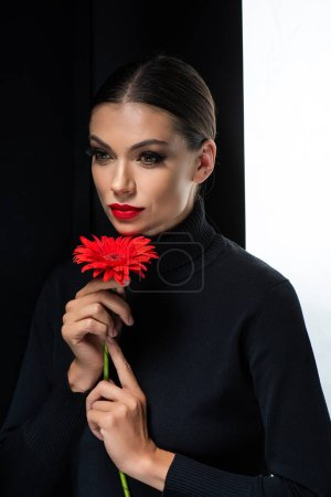 Photo for Beautiful woman with red lips holding red gerbera isolated on white and black - Royalty Free Image