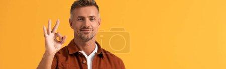 Photo pour Plan panoramique de l'homme joyeux montrant ok signe isolé sur orange - image libre de droit