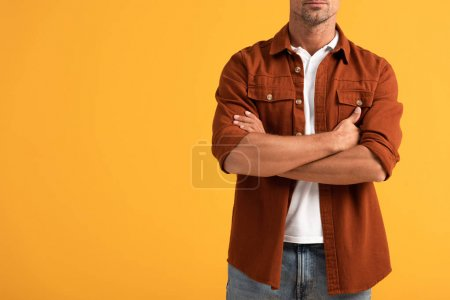 Photo for Cropped view of man standing with crossed arms isolated on orange - Royalty Free Image