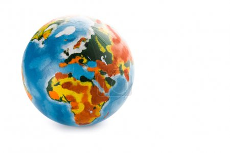 colorful globe on white with copy space