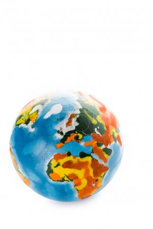 multicolored globe isolated on white with copy space