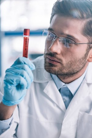 Photo for Handsome bearded immunologist in glasses looking at test tube with red liquid - Royalty Free Image