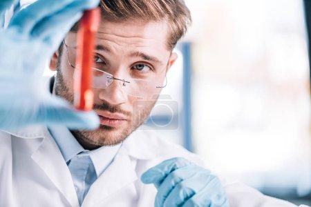 Photo pour Foyer sélectif de l'immunologiste beau dans les lunettes tenant le tube à essai avec le liquide rouge en clinique - image libre de droit