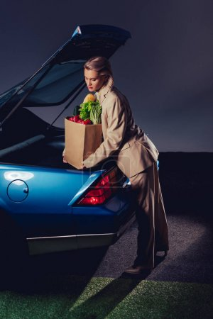 Photo for Attractive and stylish woman in suit packing paper bag with food in trunk - Royalty Free Image