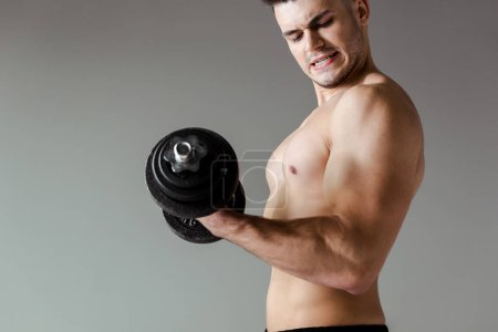 Photo for Side view of sexy muscular bodybuilder with bare torso exercising with dumbbell isolated on grey - Royalty Free Image