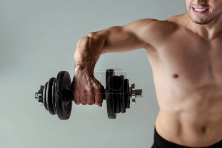 Photo for Partial view of sexy muscular bodybuilder with bare torso exercising with dumbbell isolated on grey - Royalty Free Image
