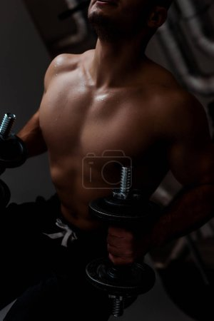 Photo for Cropped view of muscular bodybuilder with bare torso working out with dumbbells - Royalty Free Image