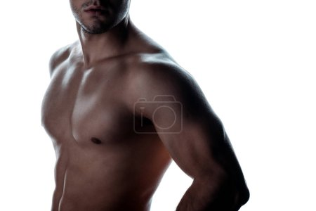 Photo for Partial view of sexy muscular bodybuilder with bare torso posing in shadow isolated on white - Royalty Free Image