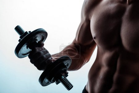 cropped view of sexy muscular bodybuilder with bare torso exercising with dumbbell on white