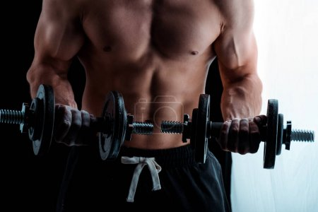Foto de Vista de los muscultores sexy musculosos con torso desnudo haciendo ejercicio con los pepinos. - Imagen libre de derechos
