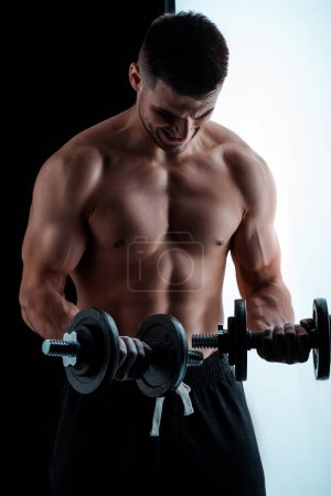 Photo for Sexy muscular bodybuilder with bare torso exercising with dumbbells - Royalty Free Image
