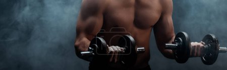 cropped view of sexy muscular bodybuilder with bare torso excising with dumbbells on black with smoke, panoramic shot