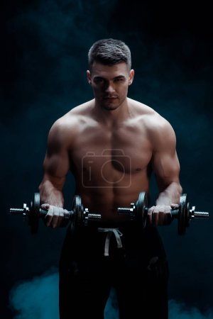 Photo for Sexy muscular bodybuilder with bare torso excising with dumbbells on black with smoke - Royalty Free Image