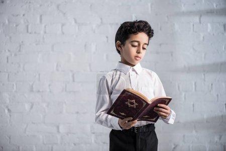 Photo pour Mignon garçon juif en chemise blanche lecture tanakh - image libre de droit
