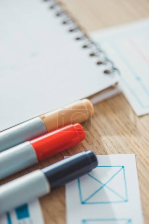 Selective focus of pens with ux web sketches on table