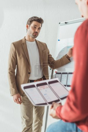 Photo for Selective focus of creative designers working with mobile wireframe sketches and whiteboard in office - Royalty Free Image