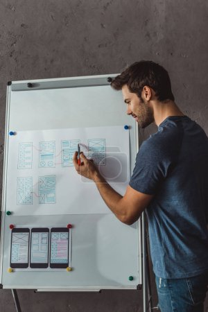 Photo for Side view of designer developing user experience design on whiteboard in office - Royalty Free Image