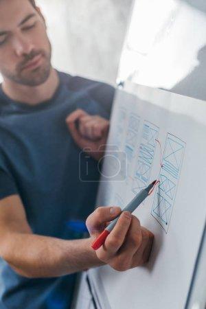 Photo pour Concentration sélective des schémas d'application de croquis de développeur sur le tableau blanc dans le bureau - image libre de droit